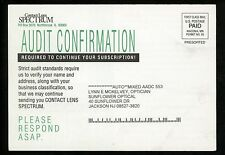 Optical Eye Postcard Subscrition Contact Lens Spectrum Northbrook Illinois IL