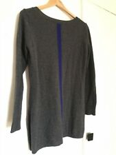 Women's Joan Vass 100% Cashmere Sweater, Grey with Blue Strip Size Small