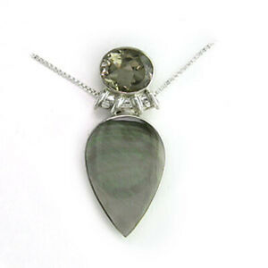 Offerings Sajen 925 SS Brown Shell Pendant with Smoky Quartz with Chain