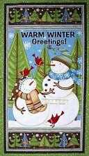 "24"" Christmas Fabric Panel - Wilmington Swirly Snowmen Wallhanging Green Blue"