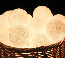 White Cotton Ball Patio Party String Lights – Bedroom, Fairy, Wedding, Decor