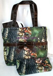 Camouflage Diaper Bag Handbag Purse - Camo Black Trim w/ Changing Pad