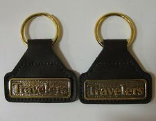 NEW Set of 2 Travelers Insurance Key Rings Brass and Leather Look Key Chains