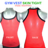 Mens Singlet Cotton Sleeveless Gym Casual Vest Red Hunk Top Skin Tight Pack Of 2