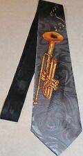 Brassy Trumpet & Notes On A Brand New Blue Polyester Neck Tie !Free Shipping