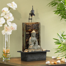 "Namaste Buddha 11 1/2"" Indoor Table Water Lighted Fountain Light Tabletop Zen"