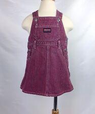 OSHKOSH THE GENUINE ARTICLE Girls Vestbak Pink Blue Railroad Stripe Dress Sz 2T