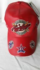 NEGRO LEAGUES Baseball Red Leather Cap Hat w/tags 15 Team Logos XXL 7-3/4 7-7/8
