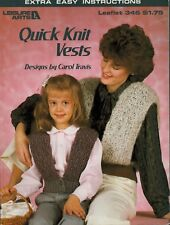 Leisure Arts 346 Quick Knit Vests Knitting Pattern Woman Child Extra Easy 1985