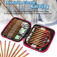 13 Sizes/Set Interchangeable Aluminum Circular Knitting Needle Sets  new UK UK