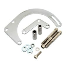 SBC Chrome Low Mount Alternator Bracket For Short or Electric Pump – Chevy 350