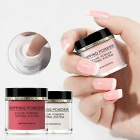 Nail Art Dipping Powder Pure Color French Dip Glitter Acrylic Tips Manicure DIY