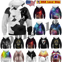 Mealeaf Kids Boys Girls Hoodies Sweatshirt 3D Galaxy Fleece Print Cartoon Hooded Coat Tops Clothes 4-13 Years