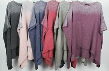 New Oversized Ladies Italian Boxy Lagenlook Poncho Look Drape Sides Jumper