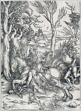 Durer Society 1497 Knight on Hourseback old laid paper original woodblock signed