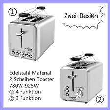 Toaster 2 Scheiben Toastautomat Edelstahl Brötchenaufsatz Aufwärmfunktion 925W
