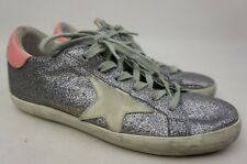 Golden Goose Superstar Silver Glitter Lace Up Sneakers Women's Shoes Size 35