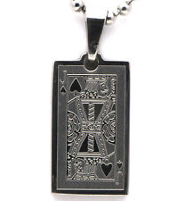 Jack of Spades Card Design Metal Beaded Necklace - 2 x 1 cm Pendant