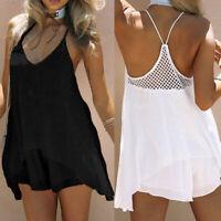 ZANZEA Women Summer Strappy Mini Sundress Swim Club Party Beach Cami Dress HOT
