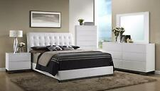 Crown Mark RB4850 Avery Modern White Finish Leathertte King Size Bedroom Set 3Pc