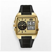 NEW-MARC ECKO GOLD TONE,BLACK RUBBER BAND,DIG.  ANA. MR. ROBOTO  WATCH E8M115MV