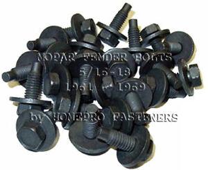 FOR MOPAR 61-69 BLACK FENDER BODY UNDER HOOD TRUNK BOLTS 5/16 25p (9530MOP6169)