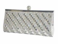 Silver Crystal Diamante Gemma SPECCHI Evening Bag Pochette Borsetta Festa Matrimonio Prom