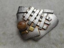Vtg Lynda Thorp 1993 artisan 925 sterling & gold accent abstract pin w/ agate