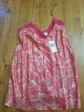 100% Silk Night Gown Small Pink Paisley Lace Nwt New