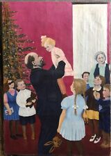 "Original super amazing painting oil on canvas ""Lenin with children"" Naive, USSR"