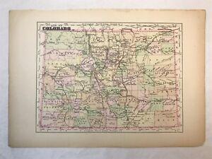 Vintage Colored Map of Colorado 6x8in