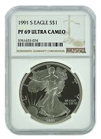 1991 S 1oz Silver Eagle Proof NGC PF69 Ultra Cameo - Brown Label