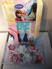 Disney Frozen Anna & Elsa Fabric Shower Curtain and Hooks Kids Bathroom - NEW!
