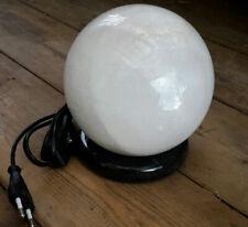 Lampe Calcit, Kugel o. Zylinder Nachttischlampe Stein Tischleuchte weiß NEU