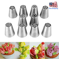 10pcs Russian Tulip Flower Cake Icing Piping Nozzles Decorating Tips Baking Set