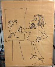 Vintage Sergio Aragones Illustration 17 x 22 Mather on brown paper Mad magazine Comic Art