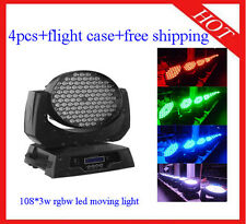 Led Moving Head 108*3W RGBW Wash Party/DJ Lights Flight Case 4pcs Free Shipping