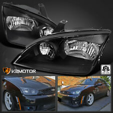 Ford 2005-2007 Focus ZX4 Euro Black Crystal Headlights Head Lamps Pair