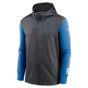 Nike Detroit Lions NFL Team Apparel Full Zip Football Hoodie Blue/Grey Men's 3XL