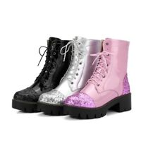Women Sequins Lace Up Round Toe Block Mid Heels Chunky Platform Mid Calf Boots