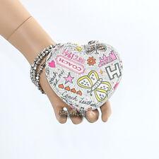 New Coach Poppy Butterfly Graffiti Heart Coin Case Key Fob F60824 New RARE