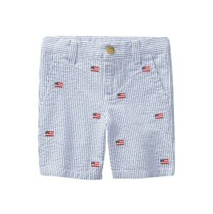 Janie And Jack Toddler Baby Boys Blue Seersucker Embroidered Shorts, Sz 2T