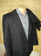 BESPOKE JOHN ALEXANDER MEN'S TWO-PIECE SUIT PINSTRIPE BLACK WOOL 40S 34 x 28.5