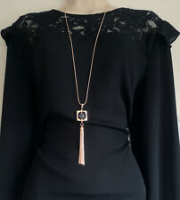 """Beautiful 34"""" long rose gold  chain necklace & bead & long chain tassel pendant"""