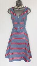 KAREN MILLEN Blue Striped Front Zip Detail Skater Summer Dress UK 12 EU 40