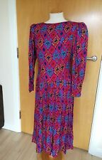 Ladies TRUE VTG Dress Size 12 14 Pink Floral 80s 90s Midi Maxi