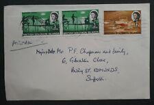 1958 British Solomon Islands Cover ties 3 stamps cancelled Honiara to UK