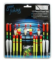 15 PIECE ASSORTED FISHING FLOAT SET & RUBBERS RY186  COARSE FISHING