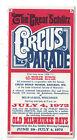 1972 Old Milwaukee Days Schlitz Circus Parade Route Brochure