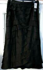 "Elegant Formal Black Tiered Lined Skirt Size 16 35"" Waist 39"" Length New at $129"